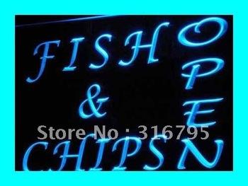i174-b OPEN Fish Chips Cafe Restaurant LED Neon Light Sign