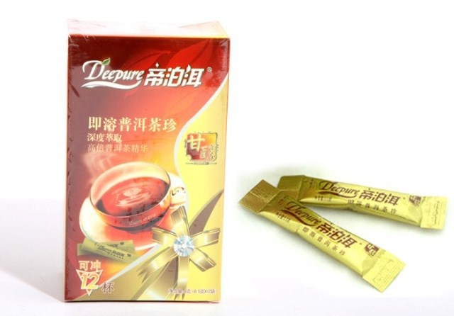 Free shipping Instant puer tea 1113 golden fragrance ripe tea powder 12 bags cartons green slimming