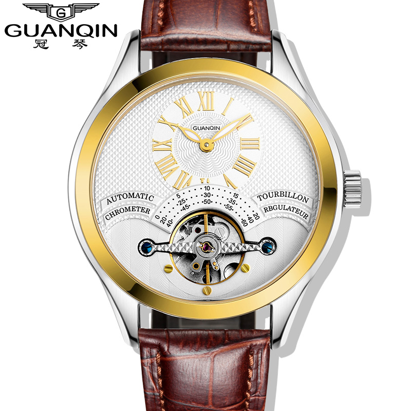 Luxury Brand GUANQIN 2015 Fashion Tourbillon Watches Men Wristwatches automatic Mechanical Watches Gold <br><br>Aliexpress