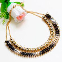 1pcs Metal Light Neck Gradient Rhinestone Necklace multi layer necklaces Colorful dedicate necklace women #421(China (Mainland))