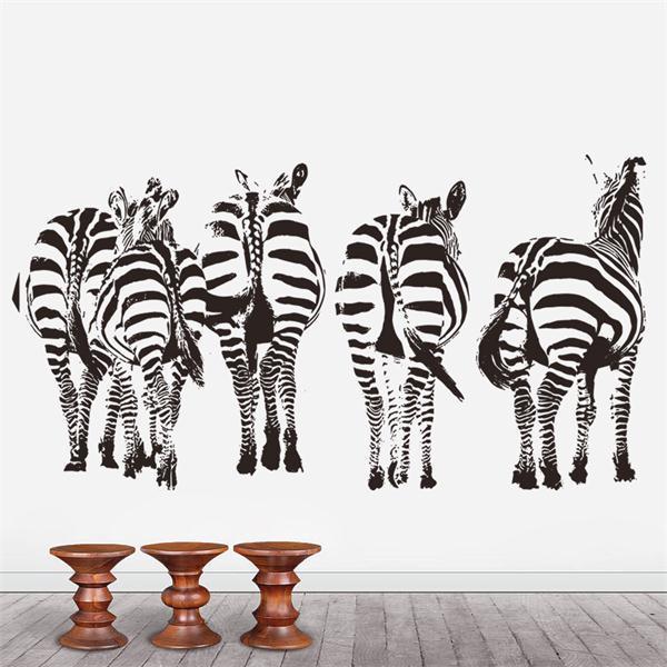 African savannah Zebra vinyl wall stickers home decor adesivo de parede wallpaper home decoration