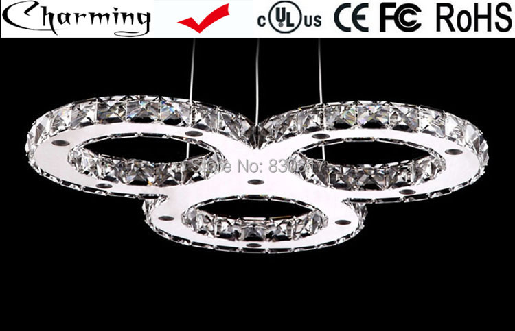 Pendant light LED Ceiling lamp Crystal 3rings in union Design Living room Dining room Thick Polished stainless steel base Modern(China (Mainland))