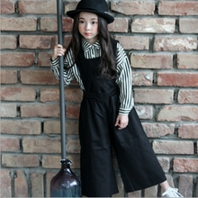 girls overalls  Autumn   children's cotton  trousers kid  Detachable Wide leg pants  fashion clothing