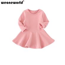 WEONEWORLD Baby Girls Dresses Candy Color Long Sleeve Cotton Autumn Dress For Girls Kids Ruffles Children Princess Dress Clothes(China (Mainland))