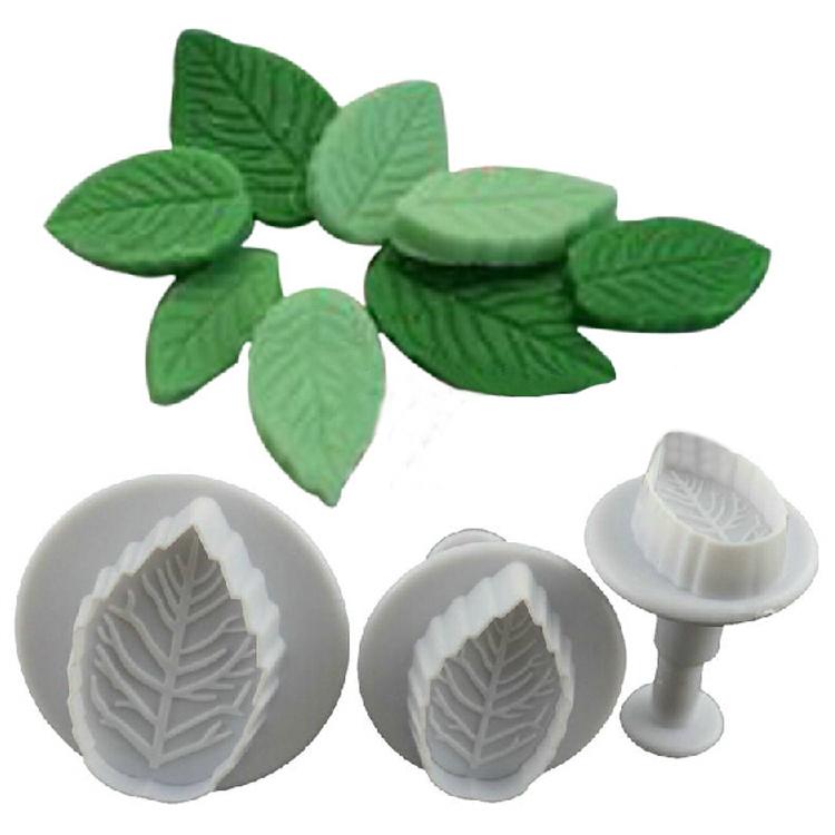 2015 Hot Sale New 3 Pcs Cake Rose Leaf Plunger Fondant Decorating Sugar Craft Mold Cutter Tools Drop Shiping HG-1072(China (Mainland))