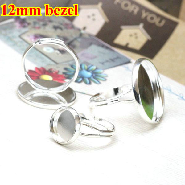 12mm Round Adjustable Shallow bottom Silver plated Ring Base Setting,Ring bezel blanks,fit 12mm round glass cabochon,40PCS/lot(China (Mainland))