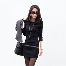 New Fashion Women Warm Knit Dress OL Style Rhinestone Slim Vestidos O Neck Long Sleeve Stretch Knited Mini Sweater Dress(China (Mainland))
