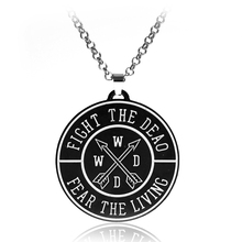 Hot Movie The Walking Dead Necklace Letter Logo Round Pendant Metal Jewelry For Man And Woman Statement Necklace New(China (Mainland))