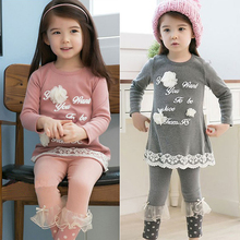 2015 spring and autumn girls clothing letter child long-sleeve T-shirt legging set tz-0607(China (Mainland))