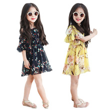 Factory Price! Toddler Kids Girl Floral Dress Elastic Neck Slim Waist Chiffon Short Dress 2-7 years