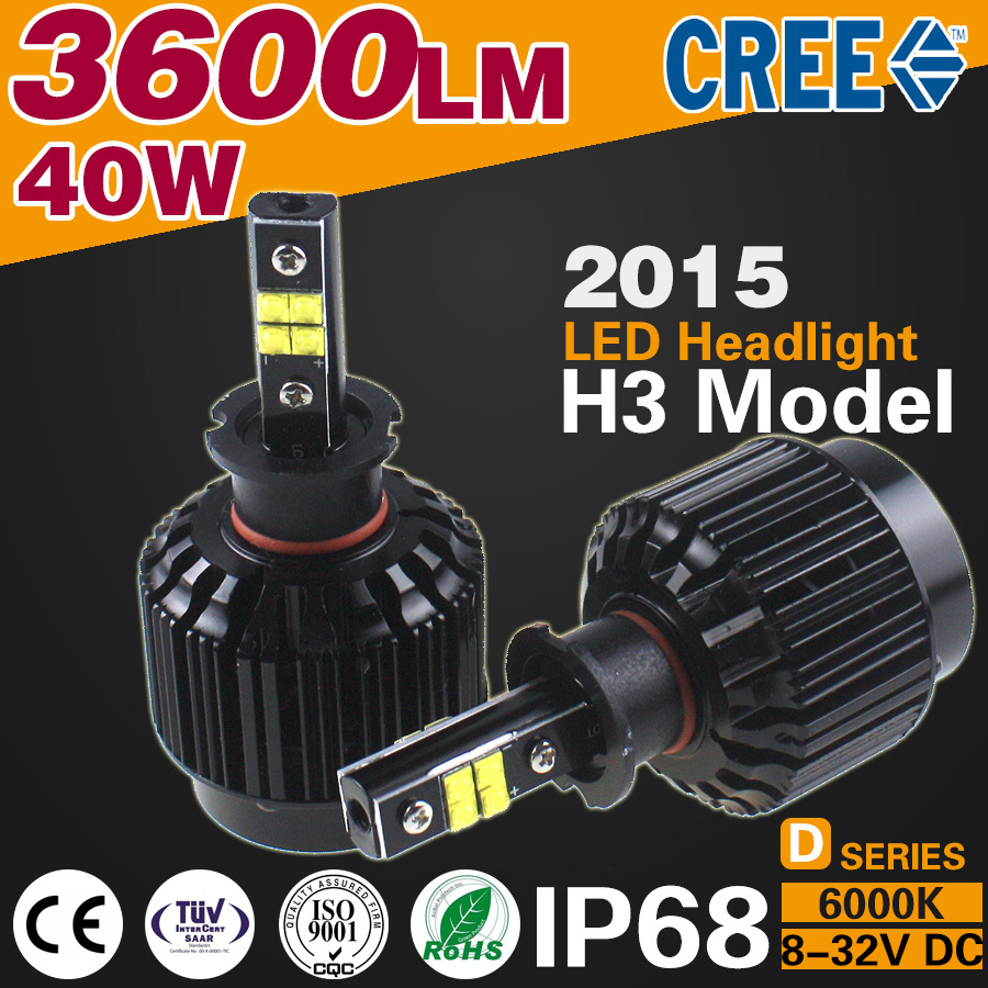 2015 new products 3600lm 40w Integrated CANBUS Car LED Headlight H3 single beam H1 H4 H7 H13 9004 9005 D1 D2 880 lamp suv 4x4(China (Mainland))