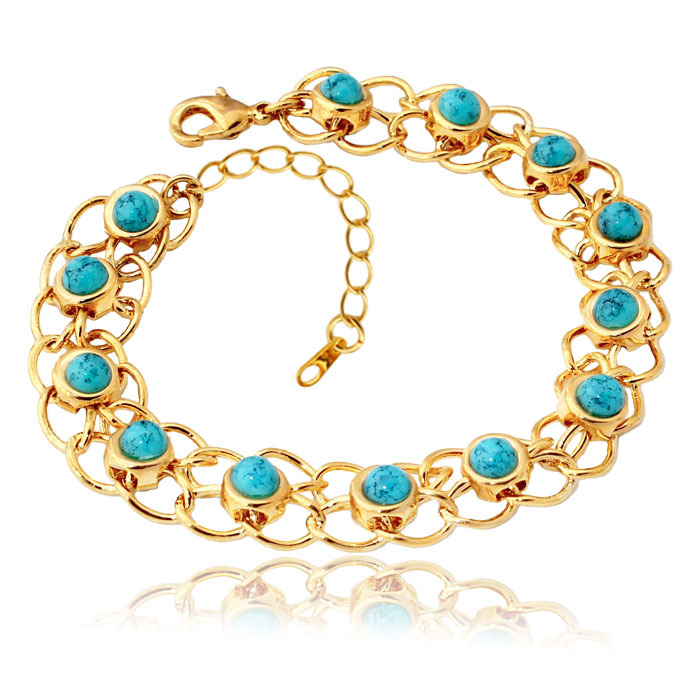 Turquoise Bracelets Bangles For Women 18K Real Gold Plated Green Turkey Stone Fashion Turkish Jewelry H5139(China (Mainland))