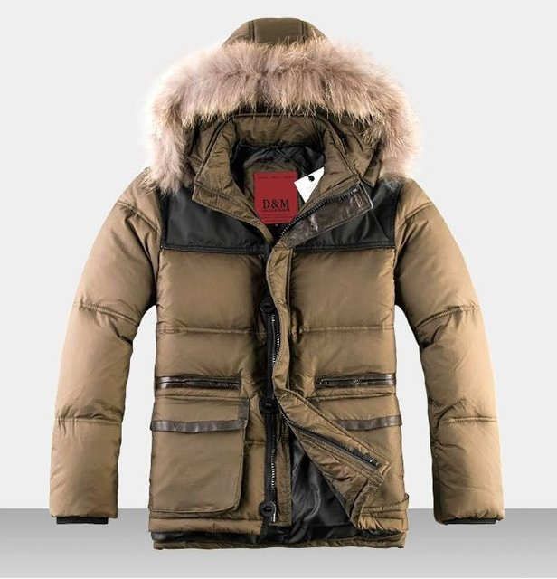 2013 Parka Men Winter Jacket Goose Down Jacket Men Down & Parkas New Fashion Men's Coat With Cap Parka Mens W007 Free Shipping