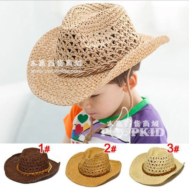 Children's fashion Free shipping 2015 New paper straw sun cowboy hat for child&baby Handwoven Family fitted Cap big eaves(China (Mainland))