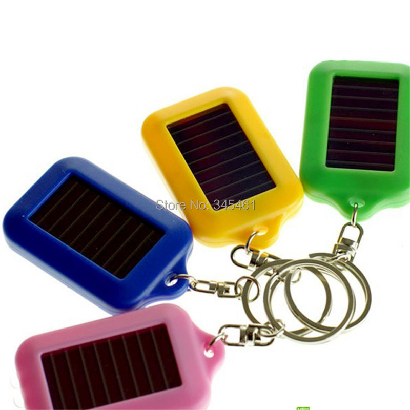 Bright 3led Solar flashlight keychain Mini Flashlight Low power consumption Plastic 4 color Outdoor Rechargeable Keychain Light(China (Mainland))