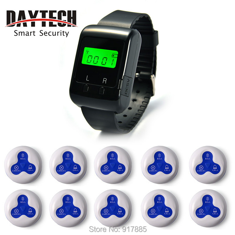 Wireless Waiter Calling Systems Hospital Nurse Call System Restaurant Pager Watch Pack of 1 pc Wrist Watch and 10 pc Call Button(China (Mainland))