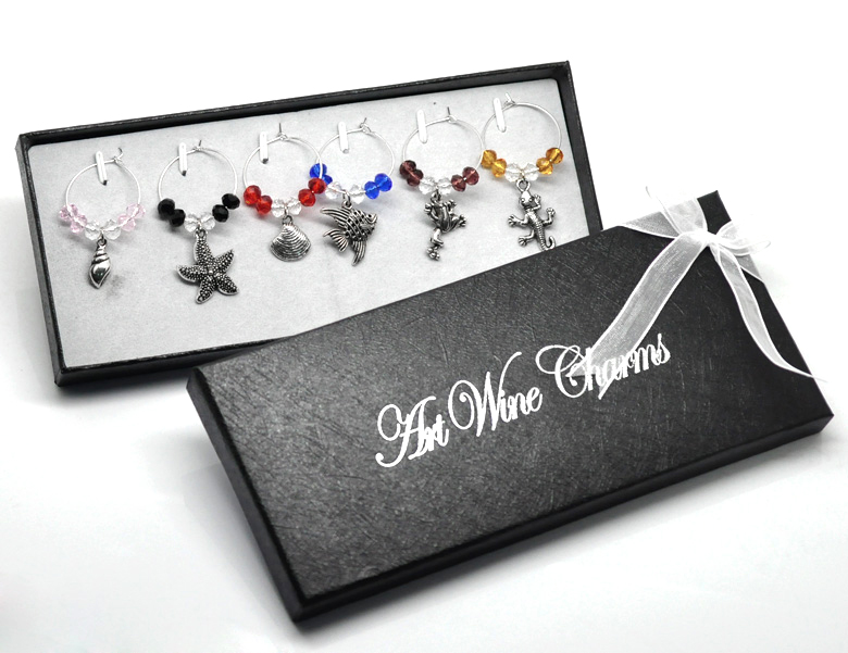 1 Box Ocean Wine Glass Charms Gifts Table Decorations W/ Box 45mmx25mm-57mmx25mm 2015 new(China (Mainland))
