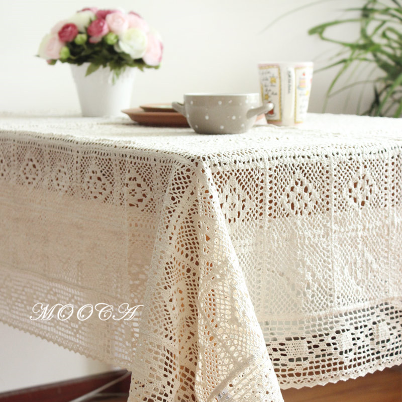 cotton material crochet table cloth vintage dining table