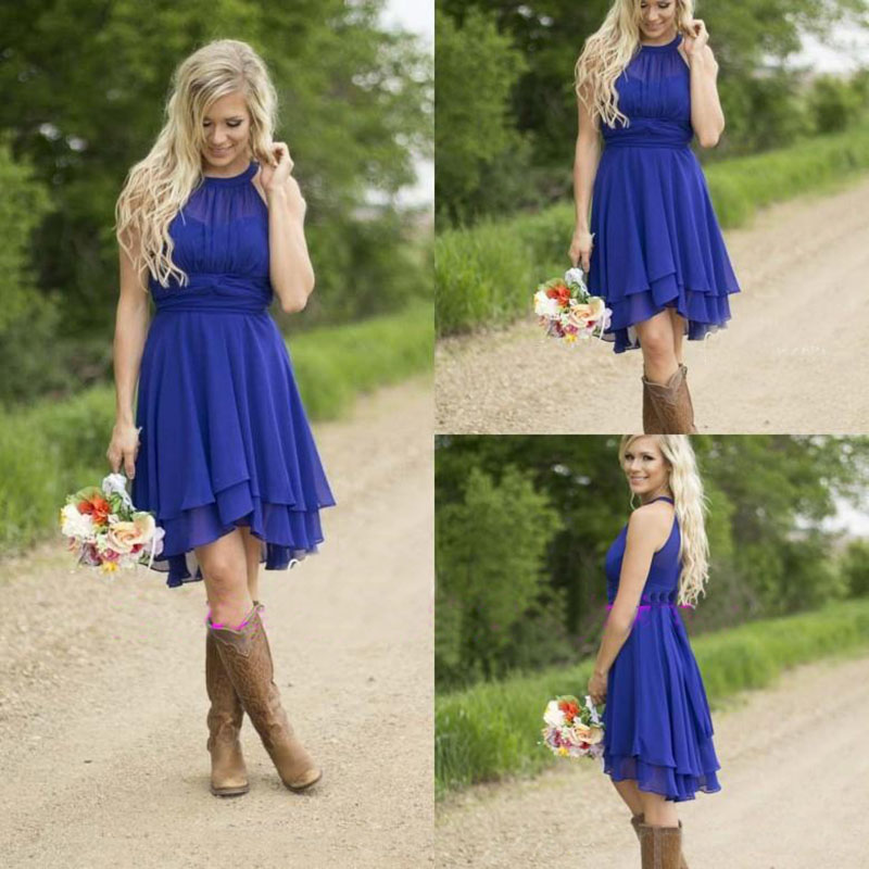 Cheap country bridesmaid dresses short 2016 modest royal for Country wedding dresses cheap