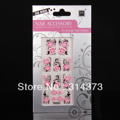 New 10pcs/Lot 3D Vintage Style Pink Flower Black Leaves Rhinestone Sticker Decals For Nail Art Tips Design Decoration Accessory