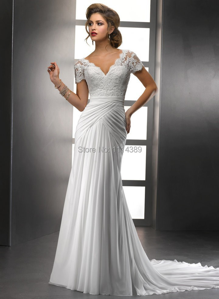 V Neck Wedding Dresses With Sleeves : Neck cap sleeves bodice chiffon long wedding dresses backless bridal