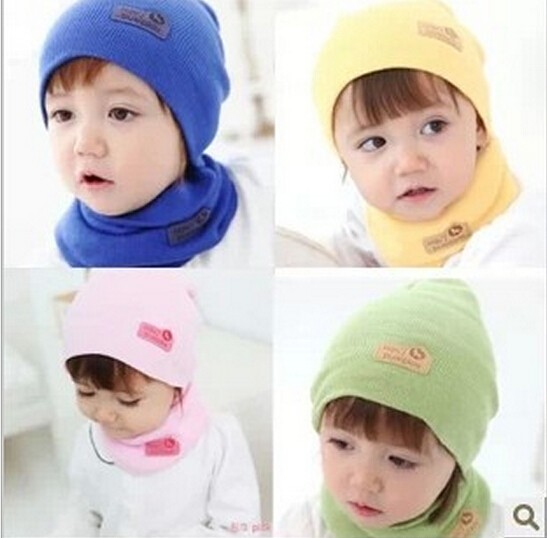 High Quality 2015 new multi-color cute Winter Baby Cap Girls/Boys Children Knitted Hat and Scarf Set(China (Mainland))