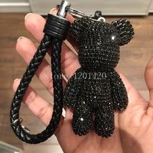 rhinestone teddy bear keychains car keyring keychains cute animal key chains bag handbag purse charms genuine leather rope strip(China (Mainland))