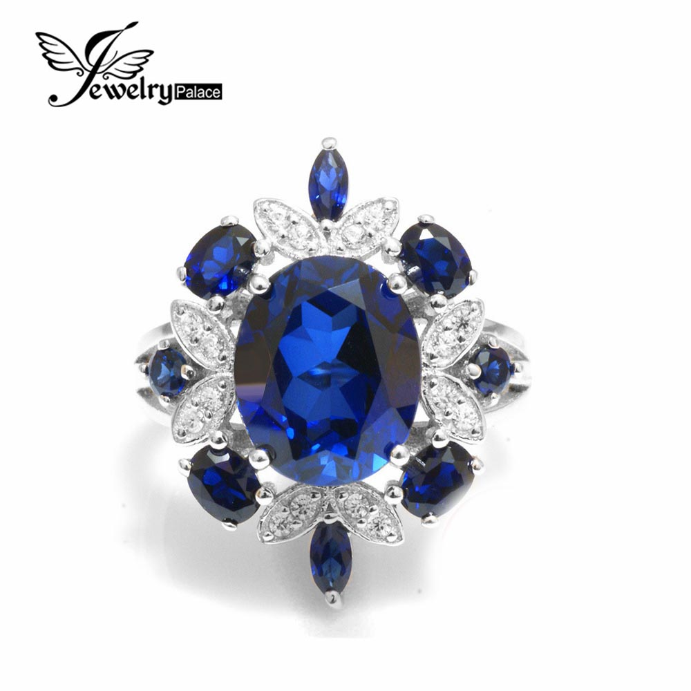 Luxury Brand 5.3ct Blue Sapphire Ring For Women Genuine 925 Sterling Silver Cocktail Party Ring Fashion Jewelry Gift Nice Rings(China (Mainland))
