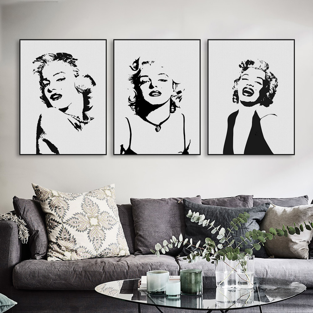 Original Watercolor Marilyn Monroe Portrait Pop Vintage Canvas Art Print Poster Wall Picture Living Room Decor Painting No Frame(China (Mainland))