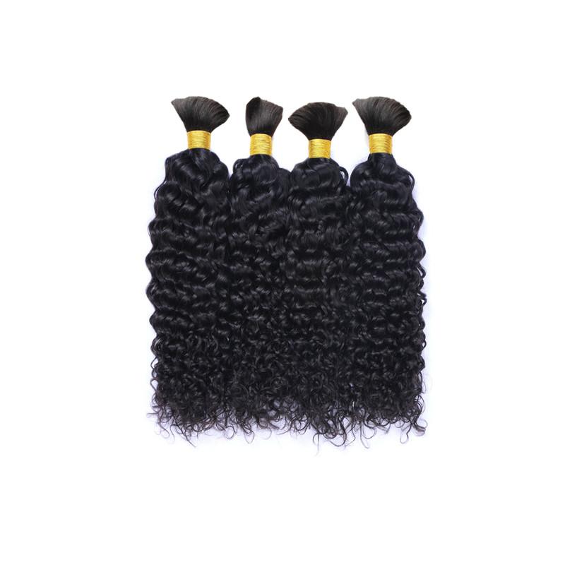 Mongolian Afro Kinky Curly Human Braiding Hair Bulk Natural Color Afro Kinky Curly Bulk  Braid Hair