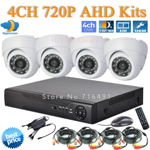 HD 4CH CCTV System 720P DVR HDMI 4PCS AHD IR Weatherproof Outdoor CCTV Camera Home Security System Surveillance Kits(China (Mainland))