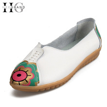Buy Print Women Loafers Leather Moccasin Casual Shoes Woman Creepers Slip On Flats Comfortable Platform Women Shoes XWD4297 for $29.98 in AliExpress store