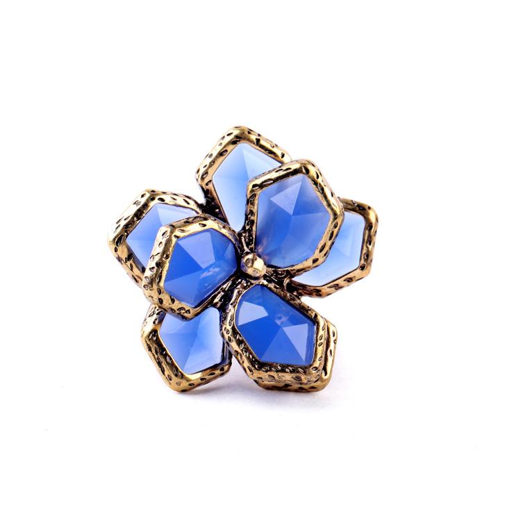 Europe-USA Classics Blue Acrylic Floral Rings Online Shopping Christmas Women Joyas(China (Mainland))
