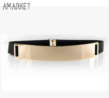 Elastic Mirror Metal Waist Belt Metallic Bling Gold Plate Wide Band for Women Female Accessories Dress QW185 Women's belt(China (Mainland))