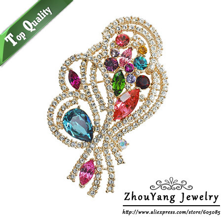ZHOUYANG ZYX025 Noble Gorgeous Multicolour  Crystal Brooches  Champagne Gold Plated  Jewelry Austrian Crystal  Wholesale