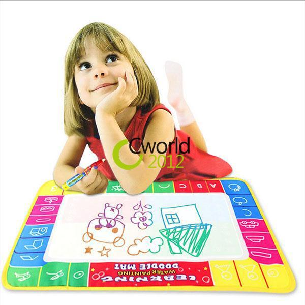 72x49cm Upgrade Water Painting Doodle Mat 4 Color Magic Pen Aqua Baby Drawing Sheet Kids Learning Writing Board(China (Mainland))