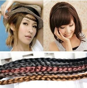 2x Wholesale Fashion Synthetic Hair Plaited Elastic Headband Braided Hair Bands Hair accessories A085,2(China (Mainland))