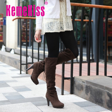 De la mujer sobre rodilla botas moda mujer nieve calzado de invierno zapatos de tacón alto sexy medio cálido tamaño P6782 arranque EUR 32-48(China (Mainland))