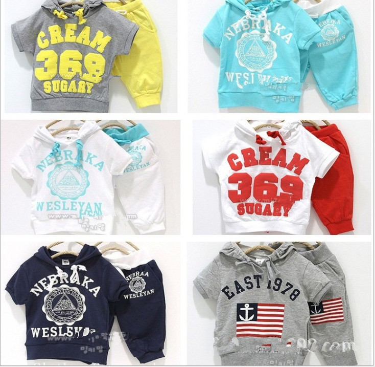 Retail New sport suits hoodies Set T shirt + pant , CREAM 369 SUGARY summer children clothing girls boys baby wear kids clothes(China (Mainland))