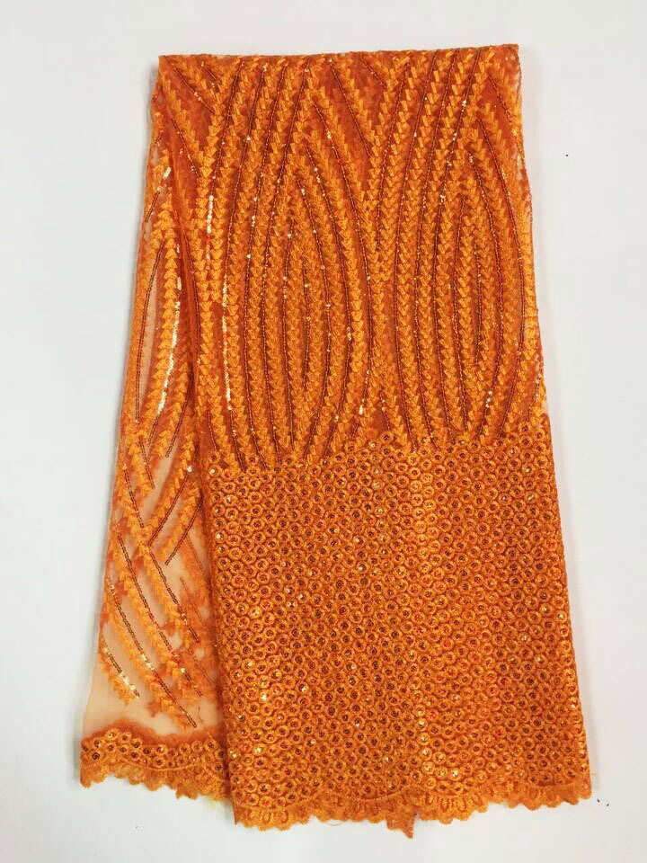 2016 High Quality African Lace Fabrics orange Nice French Net Embroidery Sequins Tulle Lace Fabric For