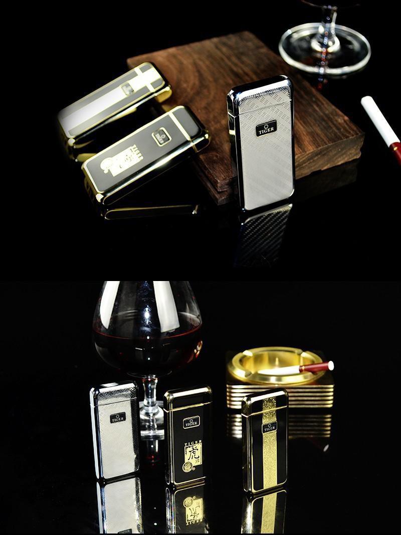 ถูก ริเริ่มโลหะwindproofเบาอิเล็กทรอนิกส์USBชาร์จ909ไฟฟ้าArcหรูหราสูบบุหรี่ไฟแช็กน่ารักของขวัญ