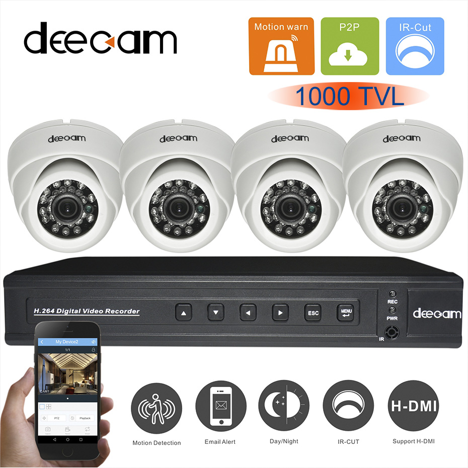DEECAM 4CH CCTV System CCTV Kit indoor 4 Camera 1000TVL IR Camera Security System Home Surveillance System P2P DVR 4 Channel(China (Mainland))