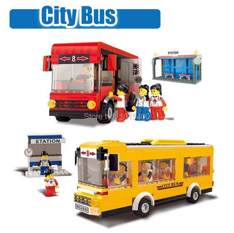 Kids Educational Toys Gifts City Bus Plastic Model Kits Building Blocks Bricks + Mini Figures Diy Learning Toys For Children(China (Mainland))