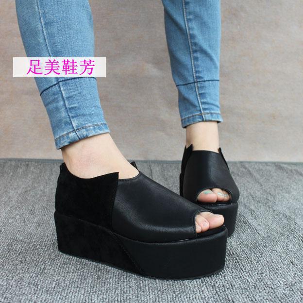 2013 fashion candy vintage open toe platform wedges platform high-heeled single shoes