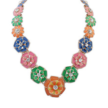 New 2015 statement necklace women brand Resin rhinestone necklace & pendant long necklace jewelry wholesal for women(China (Mainland))