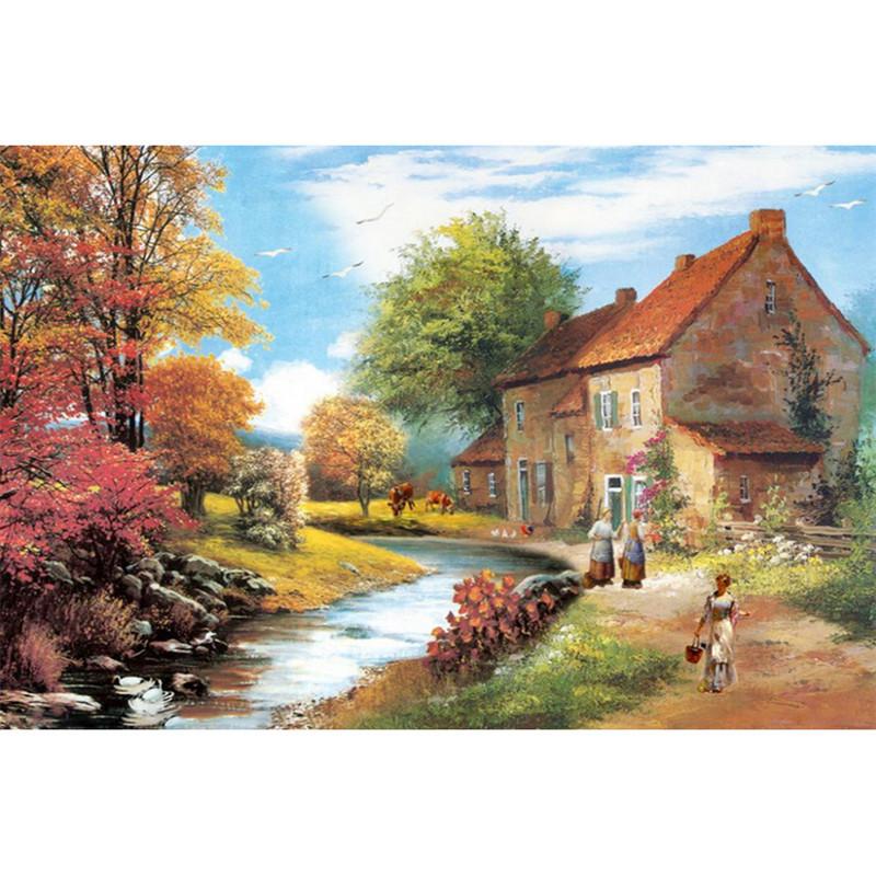 Acheter 3d bricolage paysage jardin maison diamant peinture ferme pittoresque - Acheter de la paille pour jardin ...