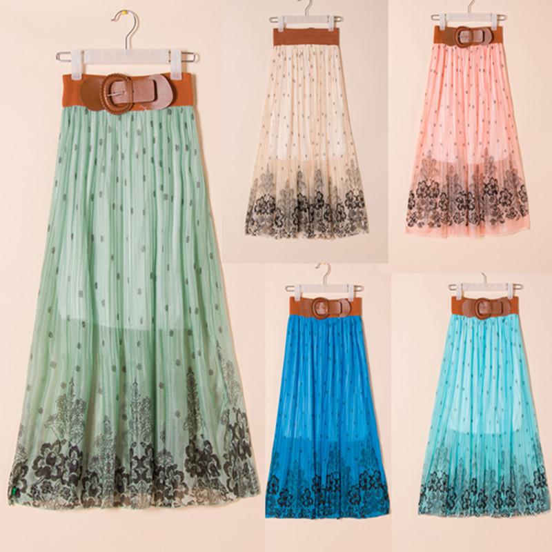 Women's summer skirt irregular distribution belt beach skirts elegant skirt with belt Bohemia Skirts SXH-012(China (Mainland))