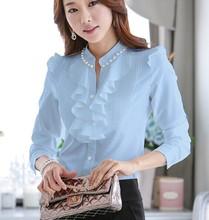 Hot Sale 2015 Spring Autumn Women Blouses Long Sleeve Slim Ruffles Chiffon Top Women Shirts Beading chiffon tops 682D 20(China (Mainland))