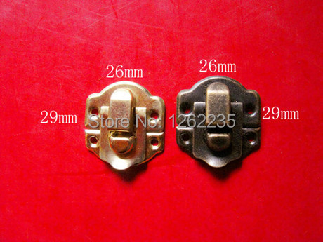Free shipping 29* 26 mm button wing gift box small wooden buckles wholesale jewelry box accessories display iron lock(China (Mainland))