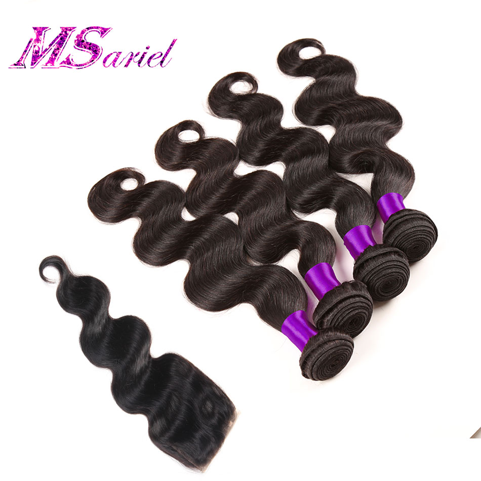 7a Grade Brazilian Virgin Hair Body Wave 4 Bundles Brazilian Body Wave #1b Brazilian Virgin Hair With Closure Cheap Human Hair